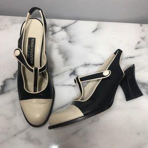 🖤 Valentino Vintage Leather T -Strap Sling Heels